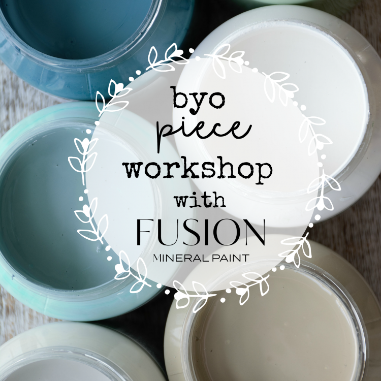 Come along and have some fun at our Fusion Mineral Paint BYO Piece Workshop. The workshop will teach you from prep to finish on how to complete a small piece of furniture using Fusion Mineral Paint. All materials supplied plus a yummy lunch is included | www.raggedy-bits.com | #workshop #raggedybits #fusionmineralpaint #byo #piece