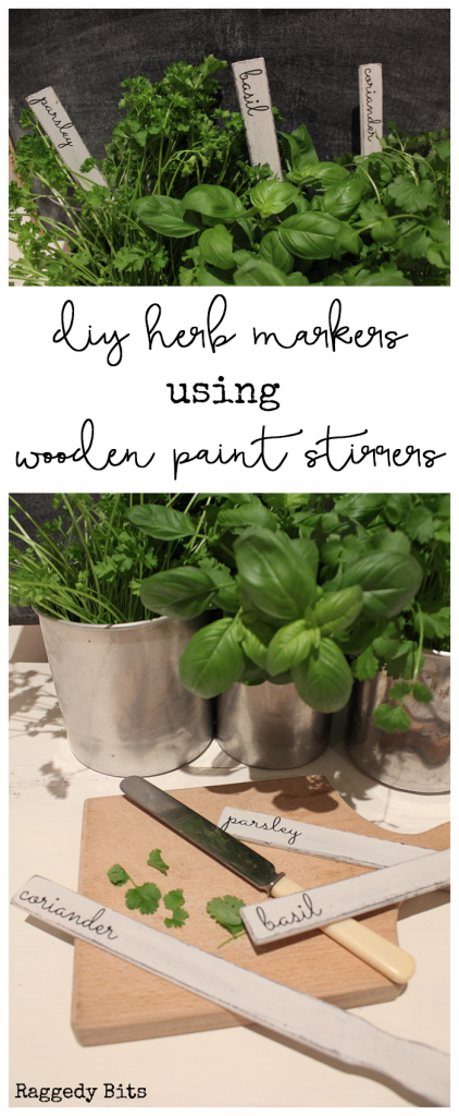 Using some paint stirrers, Fusion Mineral Paint - Coal Black, Beeswax Stick and Champlain sharing How to make Easy Farmhouse Planter Herb Markers | www.raggedy-bits.com | #plant #markers #DIY #FusionMineralPaint #coalblack #champlain #DIY #RaggedyBits #paint