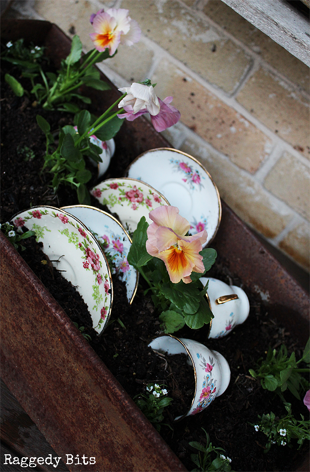Using some of Vintage Plates that sadly got broken when we moved house sharing how I Repurposed Old Vintage Plate Garden Idea | www.raggedy-bits.com | #vintage #plates #garden #repurpose #farmhouse #idea #raggedybits