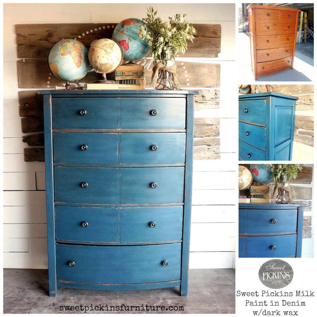 Sweet Pickins Milk Paint - Denim | www.raggedy-bits.com | #raggedybits #paintsupplier #milkpaint #paintedfurniture #denim