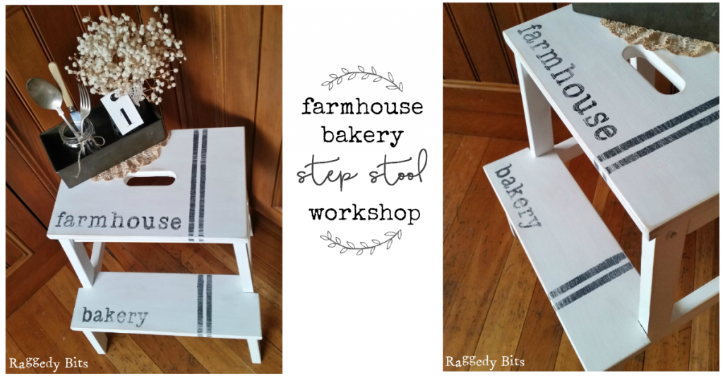 Come along and have some fun at our Farmhouse Bakery Step Stool Workshop. The workshop will teach you from prep to finish on how to complete a wooden step stool using Miss Mustard or Sweet Pickins Milk Paint. All materials supplied plus a yummy lunch is included | www.raggedy-bits.com | #workshop #raggedybits #mmsmilkpaint #sweetpickinsmilkpaint #stepstool #ikea