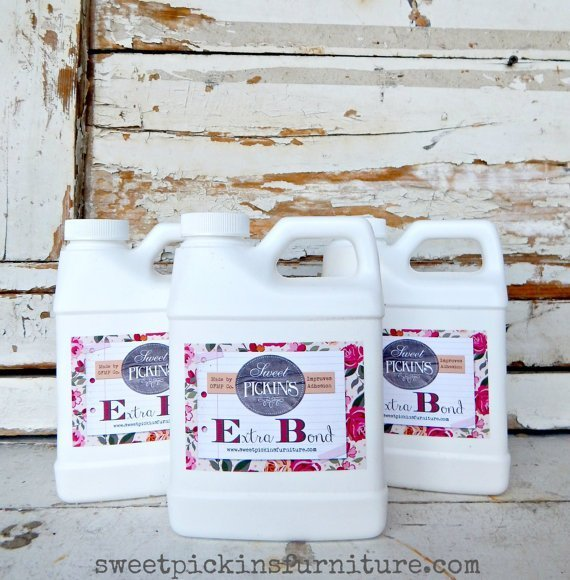 When Extra Bond is added to Milk Paint, it improves adhesion to previously finished or other non-porous surfaces. Use for surfaces such as glass, baked enamel, primed metal, laminate, oil or latex paint, varnished, shellacked or polyurethaned surfaces and many plastics   www.raggedy-bits.com   #sweetpickins #extrabond #raggedybits