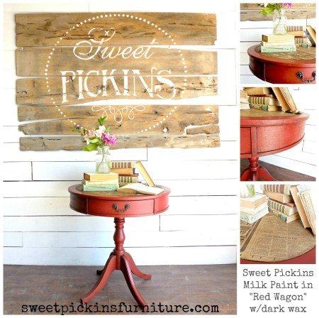 Sweet Pickins Milk Paint - Red Wagon | www.raggedy-bits.com | #raggedybits #paintsupplier #milkpaint #paintedfurniture #redwagon