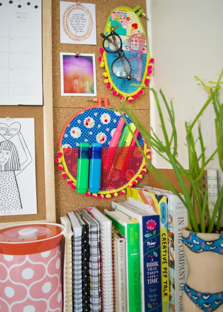 Crafty and Colourful DIY Embroidery Hoop Wall Pockets which is a feature for Waste Not Wednesday-113 by Jennifer Perkins | www.raggedy-bits.com