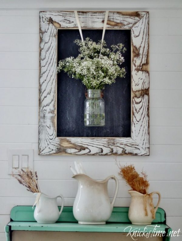 DIY Farmhouse Chalkboard which is a feature for Waste Not Wednesday-113 by Knick Of Time | www.raggedy-bits.com