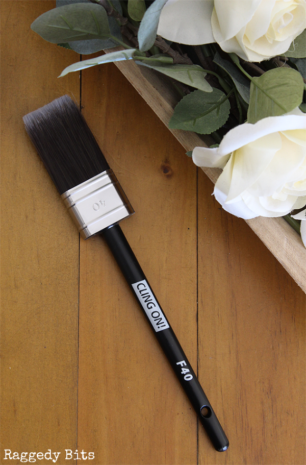 Cling On! Brushes - Flat feature soft and durable DuPont synthetic filaments fully locked in epoxy cement to minimize shedding, a stainless steel ferrule and a beechwood handle | www,raggedy-bits.com | #clingon #paintbrush #DIY #paintedfurniture #flatbrush #raggedybits