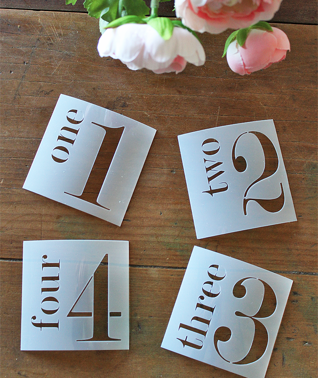 Have fun stenciling with these set of 4 Farmhouse Number Stencils. Made from quality Mylar Stencil Film from our own design | www.raggedy-bits.com | #raggedybits #stencil #paint #DIY #numbers #craft #farmhouse