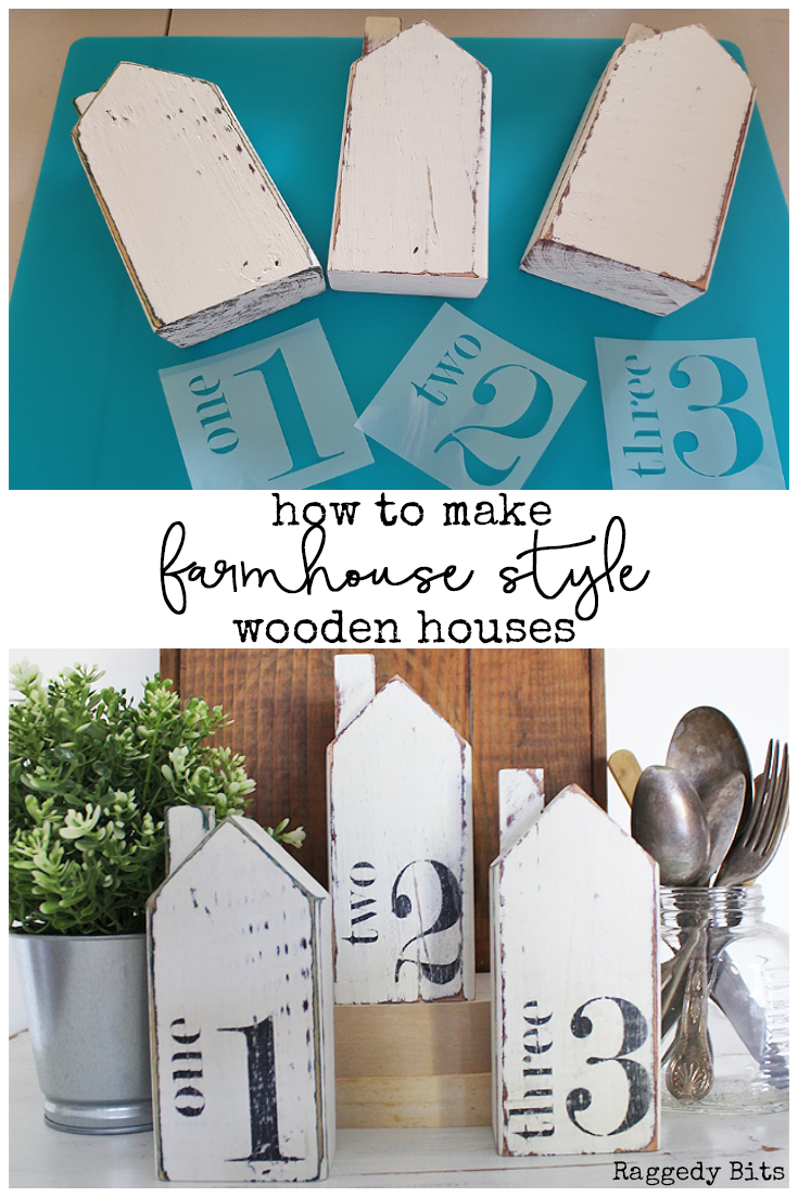 Sharing a fun way to give dated wooden houses a sweet farmhouse Style. How to paint Thrifted Farmhouse Style Houses or make your Own | www.raggedy-bits.com | #thrifted #DIY #farmhouse #wooden #houses #sweetpickinsmilkpaint #paint #homedecor