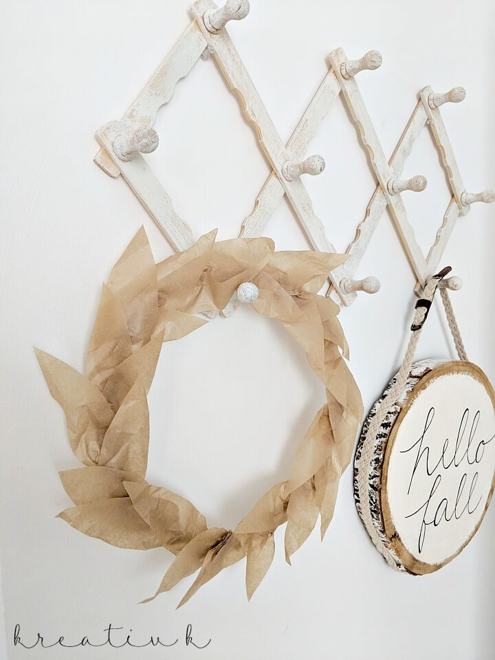 Simple Baking Paper Fall Wreath which is a feature for Waste Not Wednesday-122 by KreativK | www.raggedy-bits.com