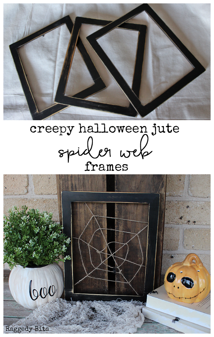 Day 2 of the Halloween 5 Day Decorating Challenge. Sharing how to make some Creepy Halloween Jute Spider Web Frames to decorate with this Halloween | www.raggedy-bits.com | #raggedybits #halloween #spiderwebframes #DIY #decorate