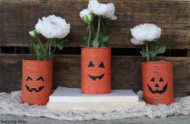 Day 5 of the Halloween 5 Day Decorating Challenge. Sharing how to make Tin Can Jack O Lantern Holders to decorate with this Halloween | www.raggedy-bits.com | #raggedybits #halloween #tincan #jackolantern #pumpkin#DIY #decorate