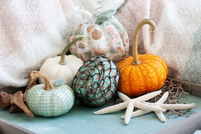 DIY Mod Podge Pumpkins Coastal Style which is a feature for Waste Not Wednesday-123 by My Wee Abode | www.raggedy-bits.com