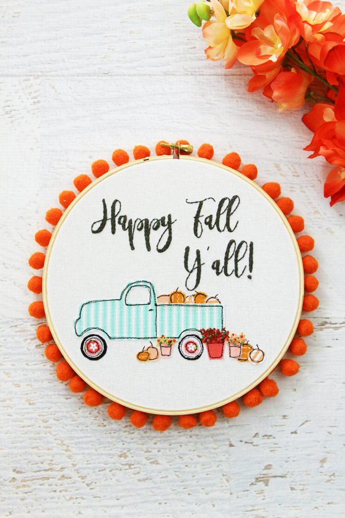 Happy Fall Pumpkin Truck Embroidery Hoop Art which is a feature for Waste Not Wednesday-123 by Flamingo Toes | www.raggedy-bits.com