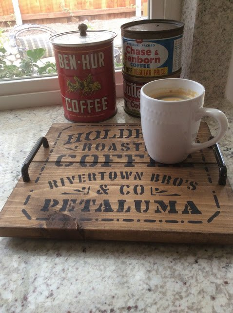 Make Your Own Coffee Tray which is a feature for Waste Not Wednesday-125 by Fresh Vintage By Lisa S   www.raggedy-bits.com