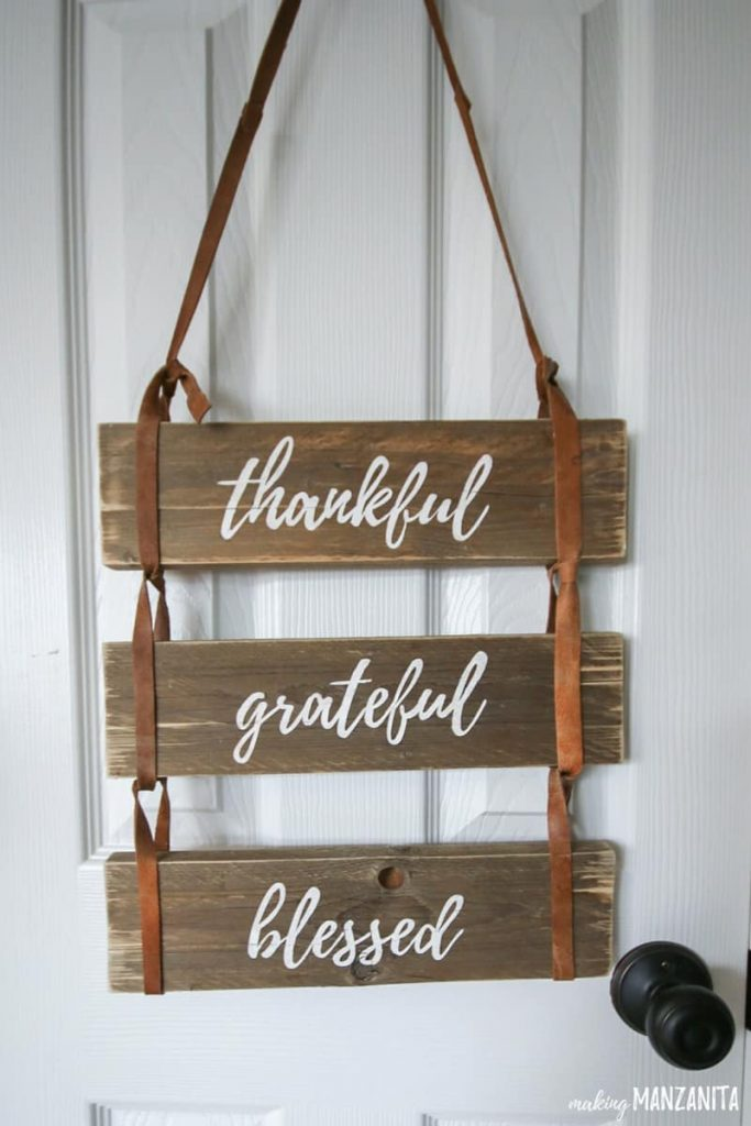 Thankful, Grateful Blessed Pallet Project which is a feature for Waste Not Wednesday-125 by Making Manzanita   www.raggedy-bits.com