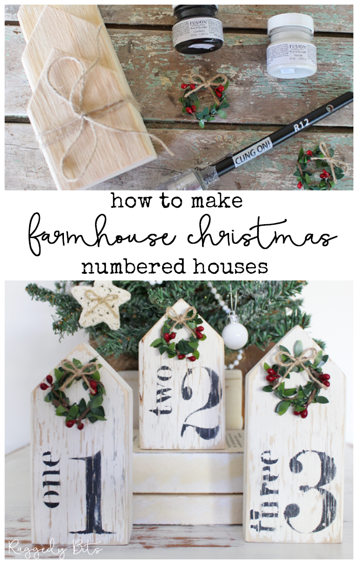 A fun gift idea or a little project for yourself with this DIY Farmhouse Numbered Christmas Houses Ornaments. Made using Fusion Mineral Paint - Coal Black and Raw Silk, Cling On! Paint Brush | www.raggedy-bits.com | #raggedybits #DIY #Christmas #Kit #houses #stencils #clingon #fusionmineralpaint #fusionmineralpaint #coalblack #rawsilk #handmadewreaths