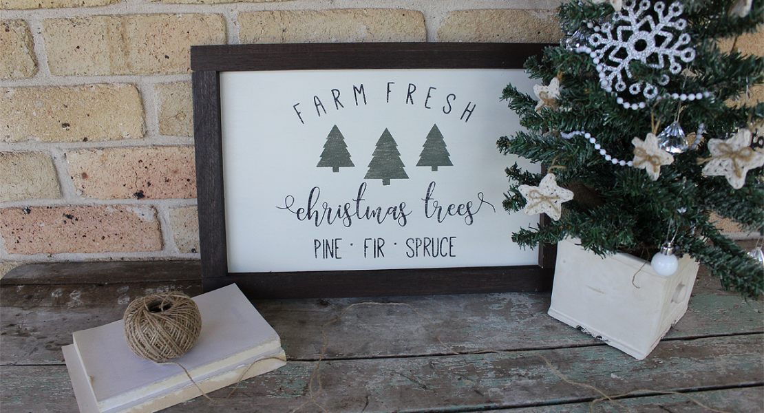 For this months Pinterest Challenge sharing how to make a Fresh Cut Christmas Tree Sign | www.raggedy-bits.com | #raggedybits #freshcut #christmas #tree #DIY #farmhouse #sign #fusionmineralpaint #coalblack #bayberry #rawsillk #chocolate
