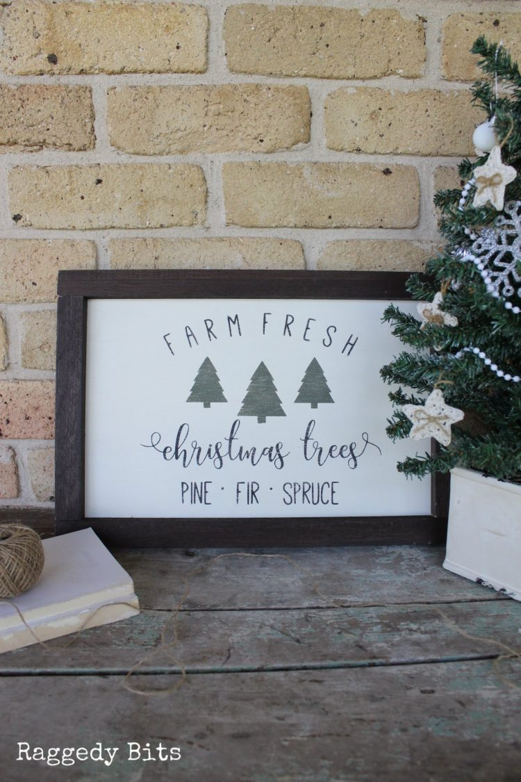 Handmade Vintage Farmhouse Farm Fresh Christmas Tree Sign. All Come Home for Christmas. Painted using Fusion Mineral Paint - Cranberry, Coal Black, Bayberry and Chocolate sealed in wax | www.raggedy-bits.com | #raggedybits #vintage #farmhouse #sign #fusionmineralpaint #bayberry #coalblack #chocolate #DIY #sign