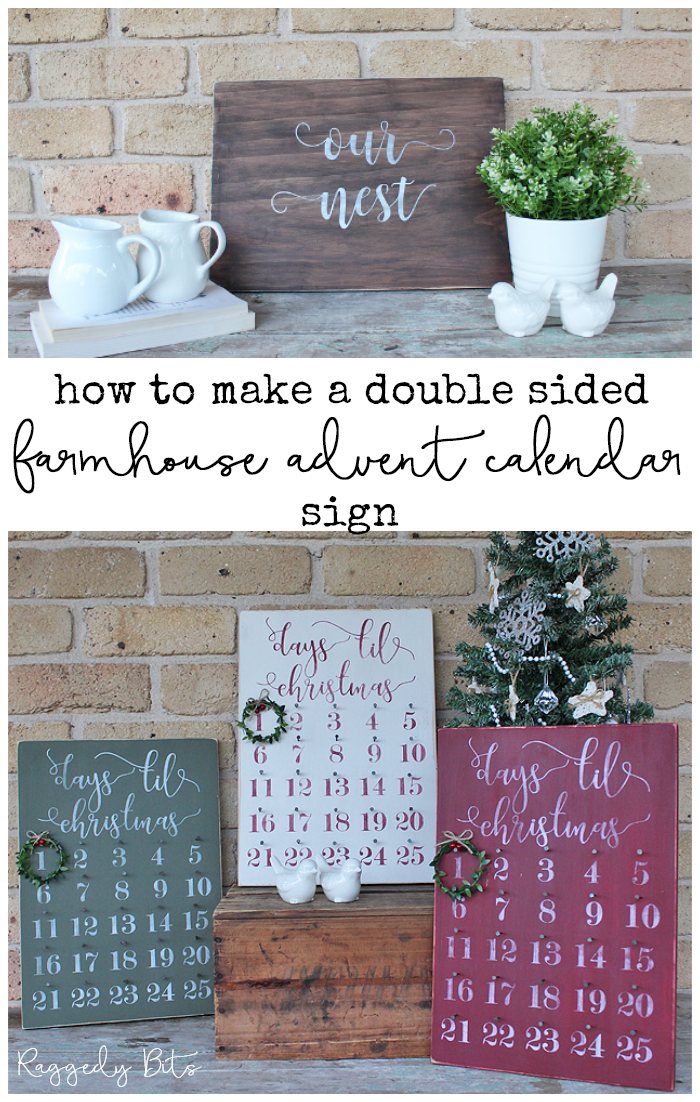Day 3 of our 12 Days of Christmas Blog Hop 2018 is all about Advent Calendar. Sharing how to make a  Double Sided Farmhouse Christmas Advent Calendar | www.raggedy-bits.com #raggedybits #farmhouse #vintage #christmas #12DaysOfChristmasBlogHop #adventcalendar #sign #DIY