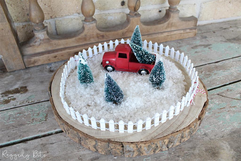 Easy Red Truck Bottle Brush Christmas Tree Display