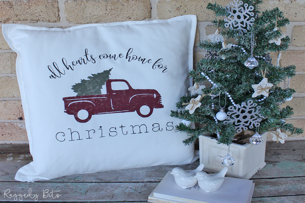 How To Make An Easy Christmas Red Truck Farmhouse Pillow