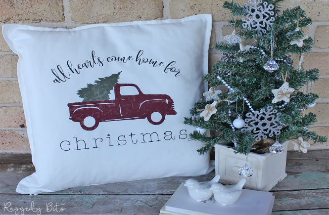 Sharing a fun easy way on How To Make an Easy Christmas Red Truck Farmhouse Pillow to decorate with this Christmas or give away as a gift | www.raggedy-bits.com | #raggedybits #christmas #craft #diy #pillow #cushion #farmhouse #redtruck #paint #fusionmineralpaint #cranberry #bayberry #coalblack