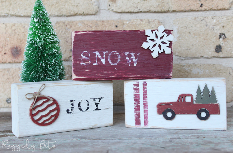 Day 2 of our 12 Days of Christmas Blog Hop 2018 is all about DIY Gift Ideas. Sharing how to make a Easy Farmhouse Style Christmas Blocks | www.raggedy-bits.com #raggedybits #farmhouse #vintage #christmas #12DaysOfChristmasBlogHop #fusionmineralpaint #blocks #redtruck #cranberry #bayberry #coalblack #rawsilk