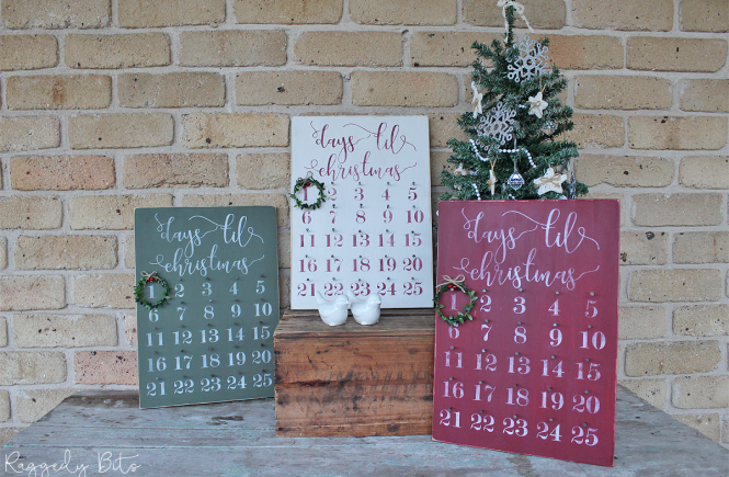 Day 3 of our 12 Days of Christmas Blog Hop 2018 is all about Advent Calendar. Sharing how to make a Double Sided Farmhouse Christmas Advent Calendar | www.raggedy-bits.com #raggedybits #farmhouse #vintage #christmas #12DaysOfChristmasBlogHop #adventcalendar #sign #DIY #