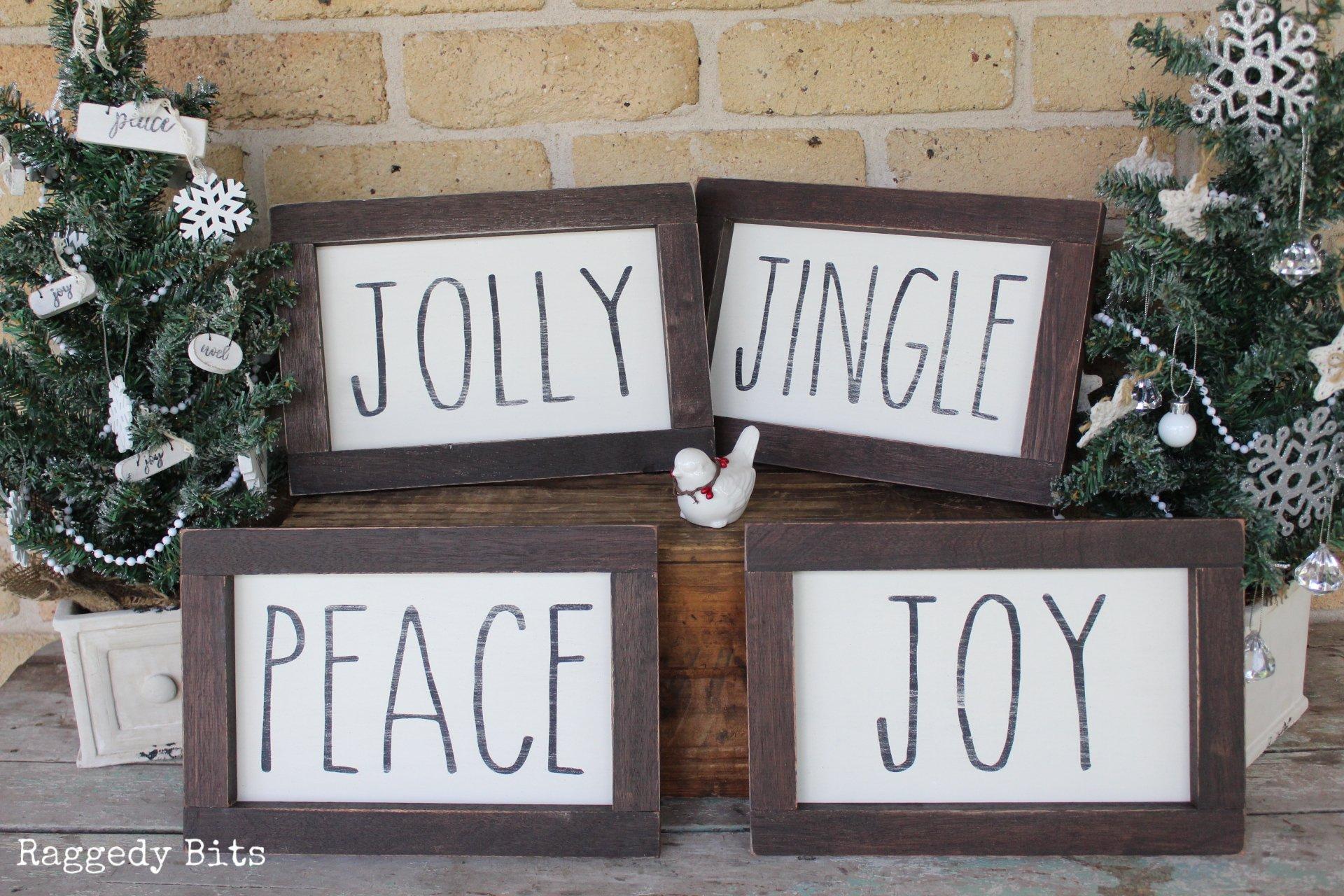 Vintage Farmhouse Christmas Jolly Jingle Joy Peace Signs Raggedy Bits