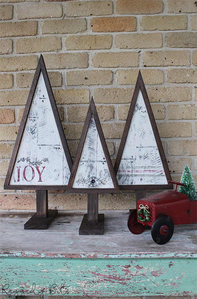 Set of 3 handmade Vintage Farmhouse Christmas Trees painted with Fusion Mineral Paint - Raw Silk, Coal Black, Chocolate, Bayberry and Cranberry using IOD stamps | www.raggedy-bits.com | #raggedybits #christmas #trees #Handmade #farmhouse #vintage #stamped #fusionmineralpaint #cranberry #bayberry #coalblack #rawsilk #chocolate #IOD