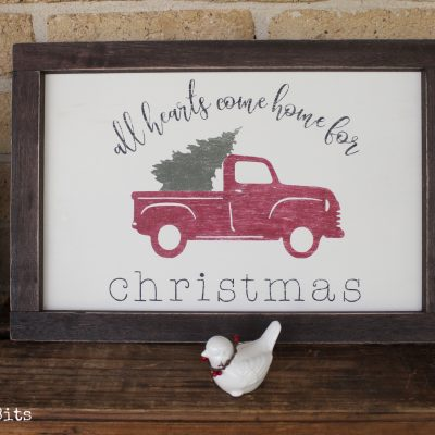 Handmade Vintage Farmhouse Red Truck Frame. All Come Home for Christmas painted using Fusion Mineral Paint - Cranberry, Coal Black, Bayberry and Chocolate sealed in wax | www.raggedy-bits.com | #raggedybits #vintage #farmhouse #sign #fusionmineralpaint #cranberry #bayberry #coalblack #chocolate #DIY