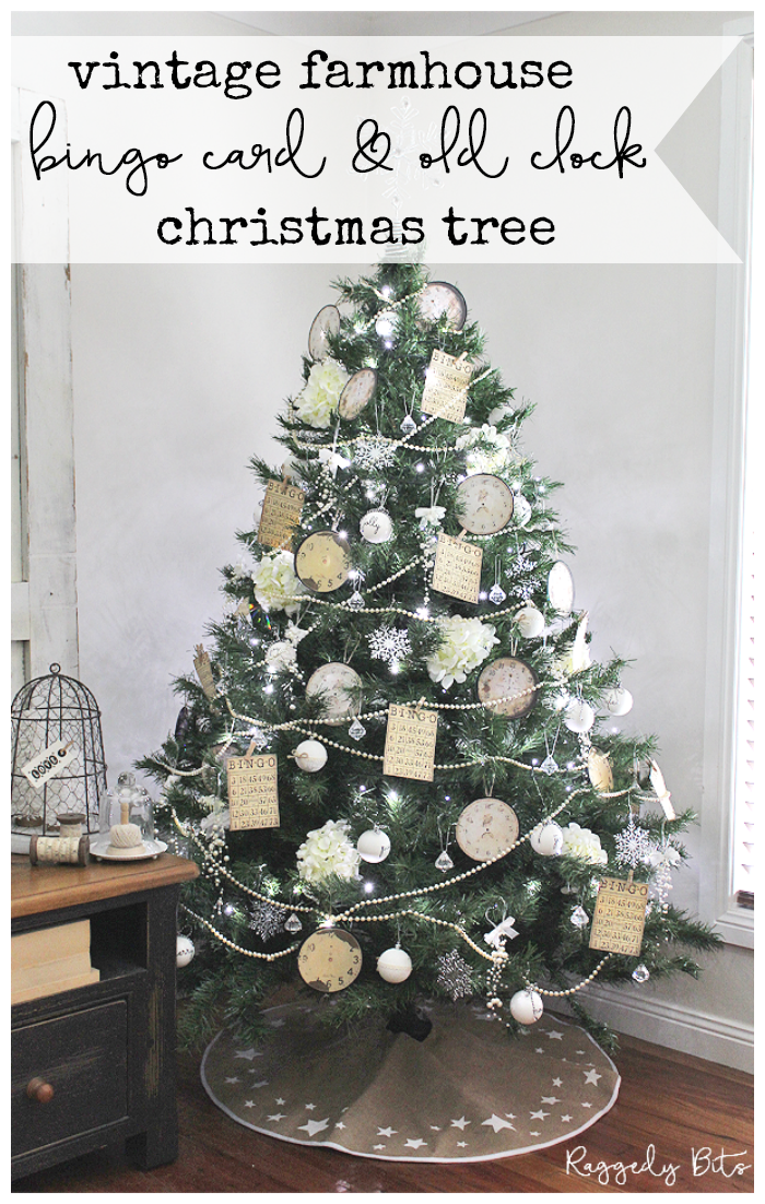 It's our second year of the our Christmas Tree Decor Blog Hop and this year there are over 20 bloggers sharing their beautiful Christmas Trees | Simple Farmhouse Bingo Vintage Clock Christmas Tree | www.raggedy-bits.com | #raggedybits #farmhouse #vintage #bingocard #oldclocks #christmastree #christmastreedecor