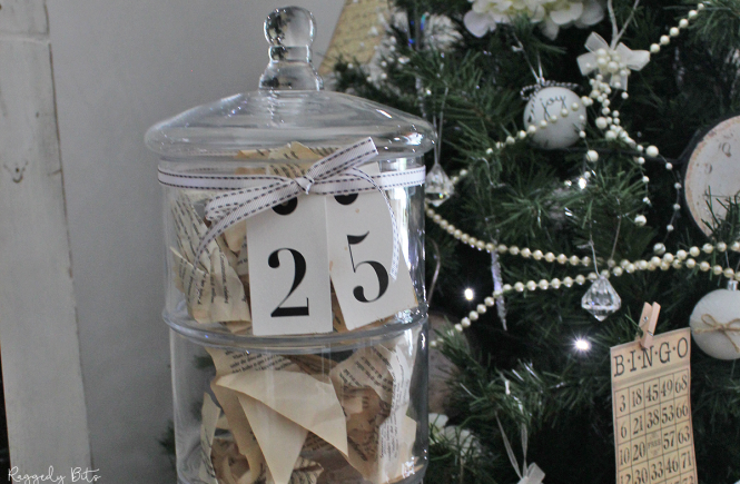 Day 8 of our 12 Days of yummy Christmas recipes. Sharing how to make a Simple Vintage Farmhouse Christmas Book Page Jar | www.raggedy-bits.com #raggedybits #christmas #12DaysOfChristmasBlogHop #bookpage #jar #decorate #homedecor #simple #vintage #farmhouse