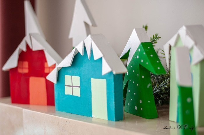 DIY Christmas Village which is a feature for Waste Not Wednesday-132 by Anika's DIY Life | www.raggedy-bits.com