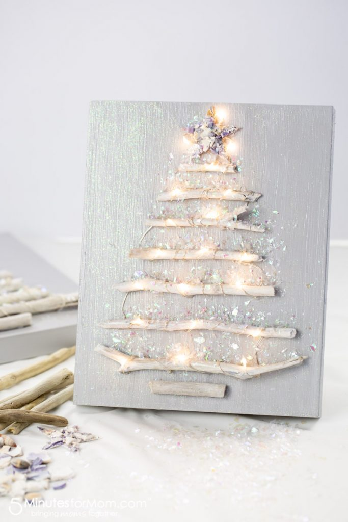 Driftwood Christmas Tree Craft which is a feature for Waste Not Wednesday-132 by 5 Minutes For Mom | www.raggedy-bits.com