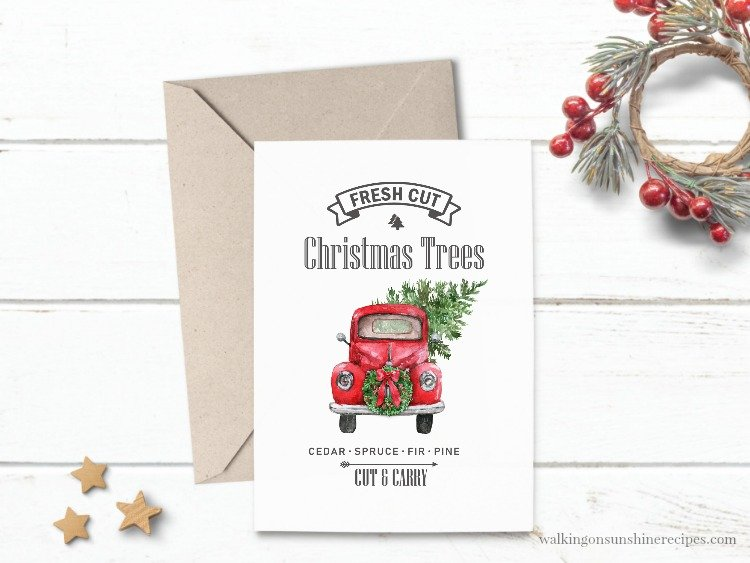 Christmas Truck Printable which is a feature for Waste Not Wednesday-133 by Walking On Sunshine Recipes | www.raggedy-bits.com