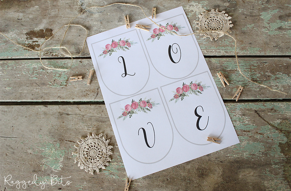 Sharing a Simple Valentines Love Vintage Farmhouse Banner Printable to make this Valentines Day to share the love | www.raggedy-bits.com | #raggedybits #valentinesday #printable #love #craft #DIY #banner #homedecor #vintage #farmhouse