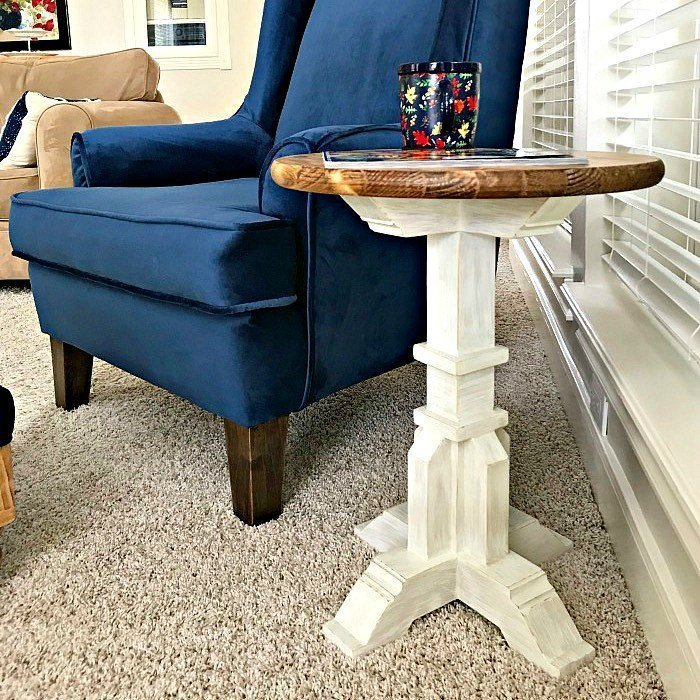 Round Top DIY Pedestal Accent Table Plans which is a feature for Waste Not Wednesday-139 by Abbotts At Home | www.raggedy-bits.com