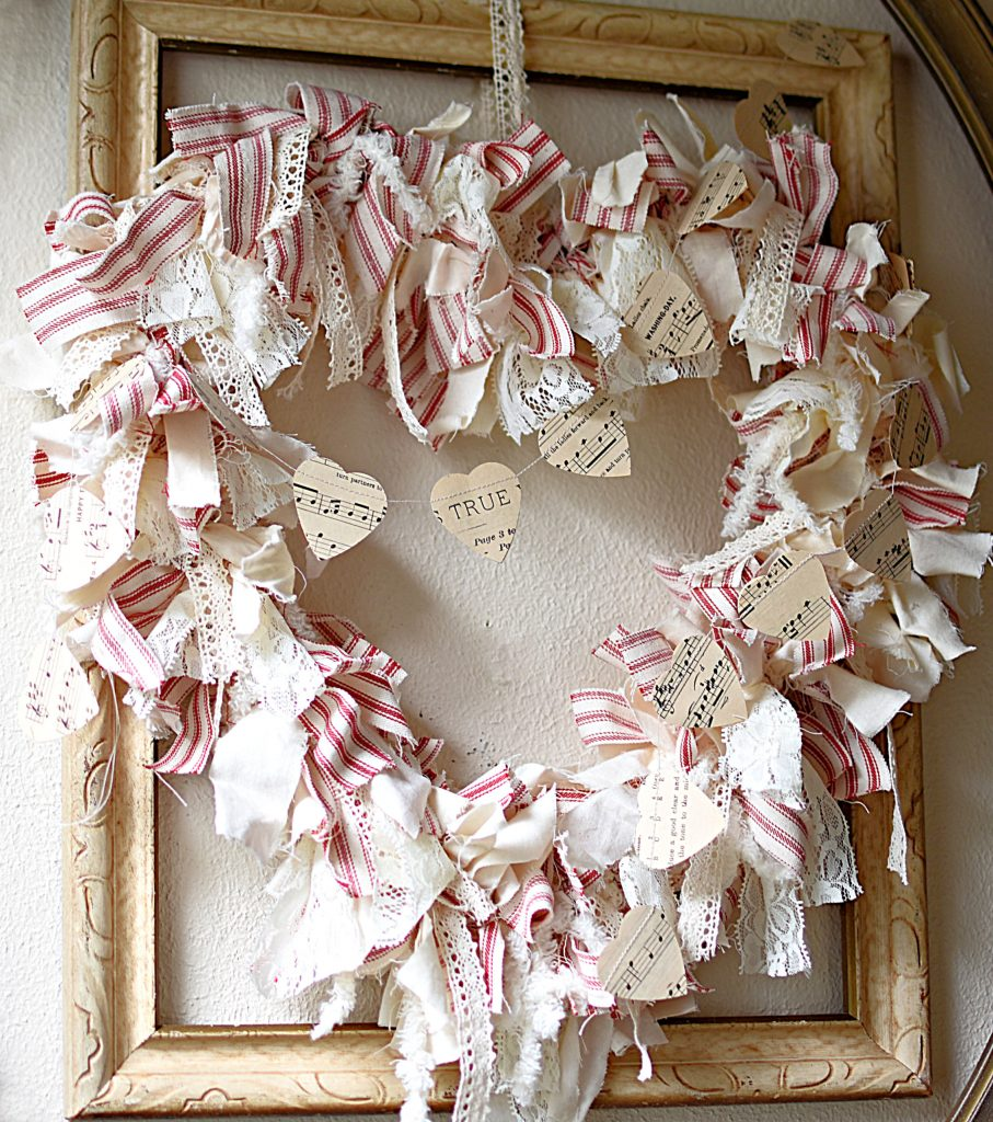 DIY Shabby Farmhouse Heart Rag Wreath which is a feature for Waste Not Wednesday-140 by Follow The Yellow Brick Road | www.raggedy-bits.com