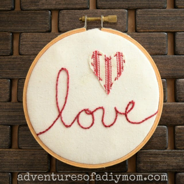 Love Embroidery Using Stem Stitch which is a feature for Waste Not Wednesday-140 by Adventures Of A DIY Mom | www.raggedy-bits.com
