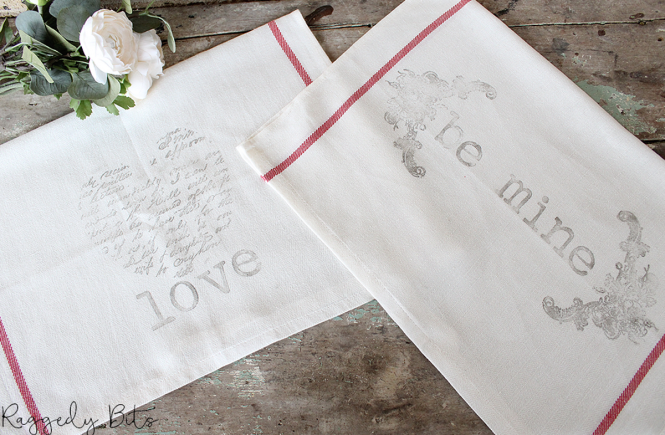 Using some Ikea Tea Towels and Iron Orchid Design Decor Stamps I'm sharing How to Make Easy Farmhouse Stamped Valentines Tea Towels | www.raggedy-bits.com | #raggedybits #valentines #craft #diy #ironorchiddesigns #farmhouse #vintage