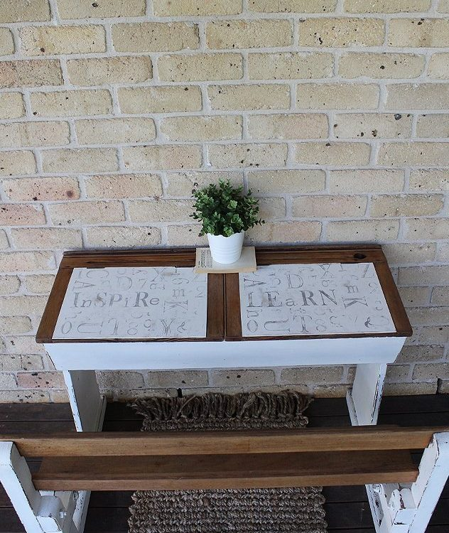 How to Paint An Old Farmhouse School Desk to give it a fresh new look. Using Miss Mustard Seed Milk Paint and Iron Orchid Design Decor Stamps | www.raggedy-bits.com | #raggedybits #paintedfurniture #mmsmilkpaint #farmhouse #vintage #IronOrchidDesigns