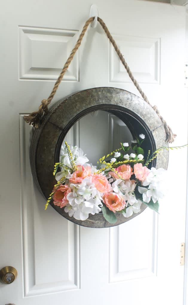 DIY Unique Spring Wreath which is a feature for Waste Not Wednesday-144 by My Wee Abode | www.raggedy-bits.com