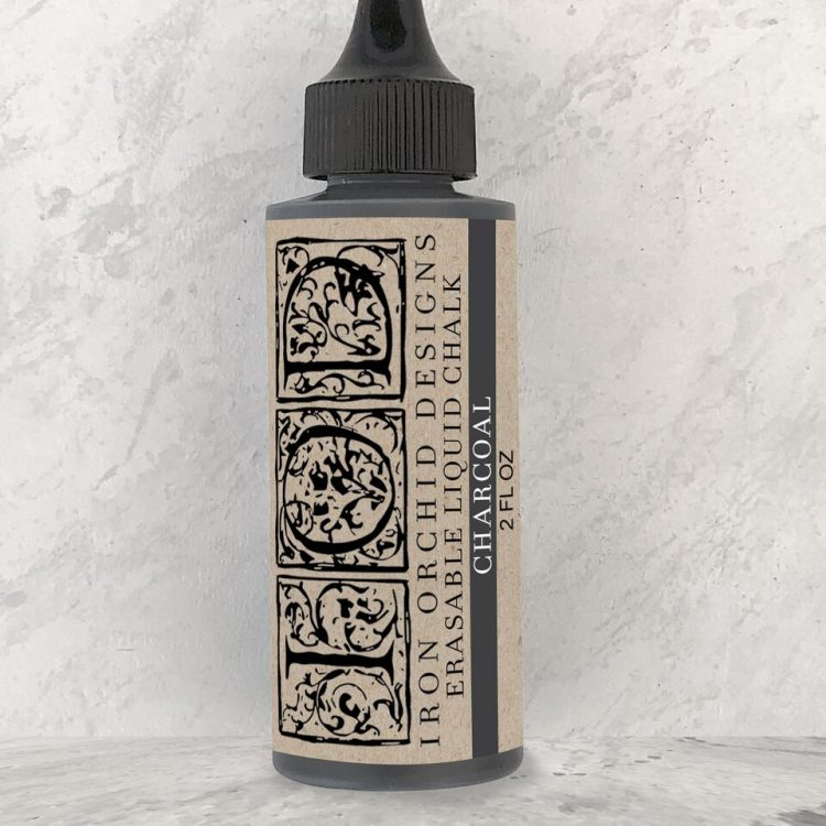 Have fun stamping texture to your projects with this Iron Orchid Designs Decor Erasable Liquid Chalk - Charcoal | www.raggedy-bits.com | #raggedybits #IOD #charcoal #liquidchalk #texture #DIY #erasable