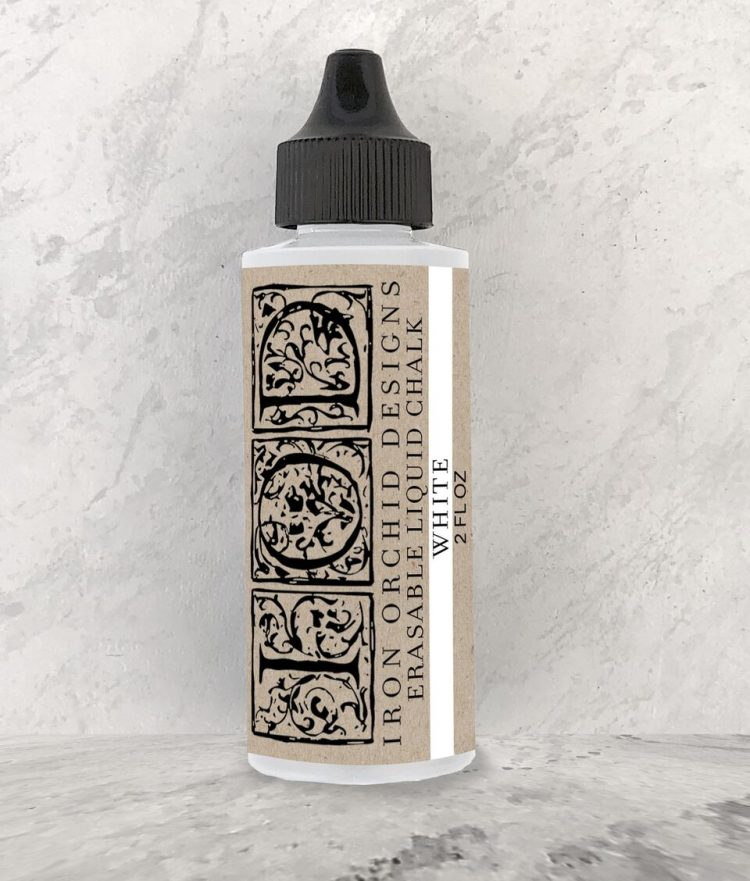Have fun stamping texture to your projects with this Iron Orchid Designs Decor Erasable Liquid Chalk - White | www.raggedy-bits.com | #raggedybits #IOD #white #liquidchalk #texture #DIY #erasable