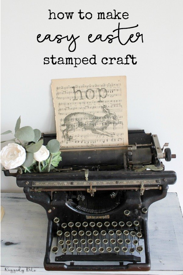 Using a vintage music sheet ans some IOD Decor stamps sharing How To Make Easy Easter Stamped Craft to decorate your home with | www.raggedy-bits.com | #raggedybits #DIY #craft #easter #vintage #farmhouse #IOD #DecorStamps #repurpose