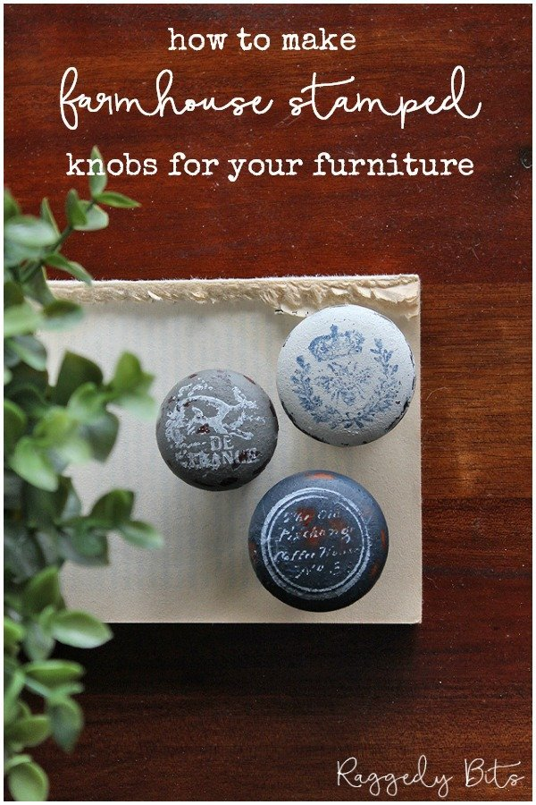 Turn plain old boring wooden drawer pulls into something unique for your freshly painted piece of furniture | How To Make Farmhouse Stamped Knobs For Your Furniture | www.raggedy-bits.com | #raggedybits #DIY #stamp #farmhouse #vintage IronOrchidDesignsDecorStamps #Upcycle #repurpose