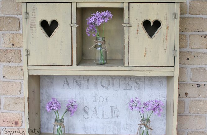 Turn any old pieces of furniture into something new using some Milk Paint and IOD Decor Stamps | How To Paint A Dated Farmhouse Shelf | www.raggedy-bits.com | #raggedybits #DIY #paintedfurniture #repurpose #fixerupper #milkpaint #IOD
