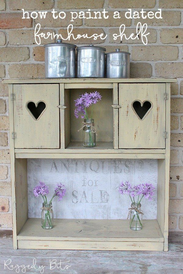 Turn any old pieces of furniture into something new using some Milk Paint and IOD Decor Stamps   How To Paint A Dated Farmhouse Shelf   www.raggedy-bits.com   #raggedybits #DIY #paintedfurniture #repurpose #fixerupper #milkpaint #IOD