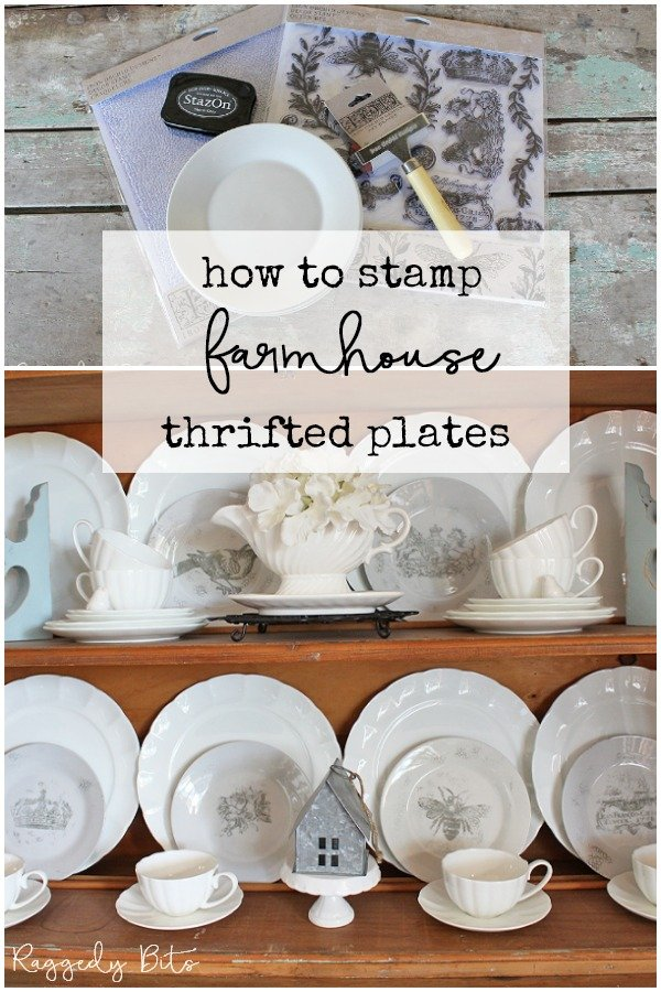 A fun way to turn some thrifted plates into a statement piece for your home | How to Stamp Farmhouse Thrifted Plates | #raggedybits #diy #homedecor #upcycle #repurpose #farmhouse #stamp #IOD